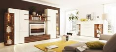Living Room - Fascinating Modern Minimalist Living Room With Soft Bed Sofa Yellow Carpet On Laminate Flooring Compact TV Stand Natural Indoor Plants: Amazing Modern Contemporary Design Ideas for Living Room