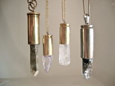 Crystals in the Bullet Shells. Great idea for jewlery