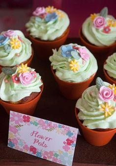 Wild flower birthday party cupcakes! See more party planning ideas at a CatchMyParty.com!