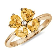 Blue Nile Citrine Flower Ring in 14k Yellow Gold ($445) ❤ liked on Polyvore