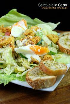 Sałatka a'la Cezar (Simple Caesar Salad - recipe in Polish) Caesar Salad, Cobb Salad, Salad Recipes, Recipies, Dishes, Impreza, Poetry, Polish, Simple