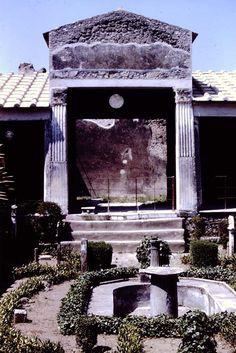 Pompeii ~ Casa degli Amorini Dorati or House of the Golden Cupids or Domus Cn. Poppaei Habiti or House of Gnaeus Poppaeus Habitus ~ Excavated 1903-5 ~ Looking west across garden area towards large triclinium. Triclinium is a formal dining area in a Roman building. 1966