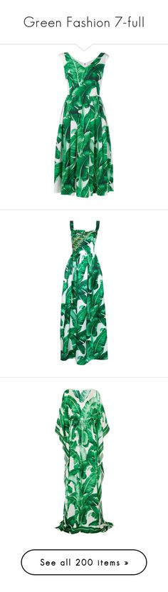 """Green Fashion 7-full"" by franceseattle ❤ liked on Polyvore featuring dresses, green dress, a line dress, green cotton dress, v neck dress, floral print dress, gowns, dolce & gabbana, green multi and beaded gown"