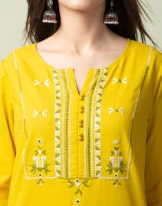 Hand Work Design, Kurti Neck Designs, Circles, India, Embroidery, Suits, Clothes For Women, Sewing, Yellow