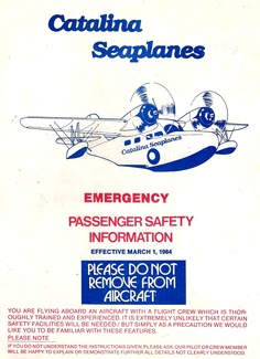Catalina Seaplanes safety card