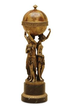 Highlighted Brass Ladies Holding Tiger Penshell Box, Marble Base