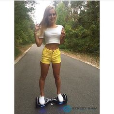 Why hello there! This lovely model on a #StreetSaw #hoverboard.