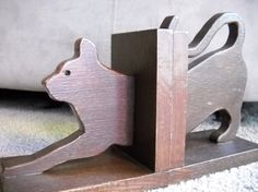 Stretching Cat Handmade Wooden Bookends Set