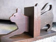 Stretching Cat Handmade Wooden Bookends Set