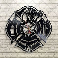 Buy Fire Department Interior Wall Clock vinyl decor man cave firefighter logo emblem at Wish - Shopping Made Fun Fireman Room, Firefighter Room, Firefighter Home Decor, Firefighter Apparel, Fire Dept, Fire Department, Vinyl Record Clock, Record Wall, Vinyl Decor