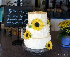 two tier buttercream wedding cakes sunflowers - Google Search