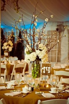 burlap linens, green apples in vase, hydrangeas, and add some willow branches instead of the cherry blossom