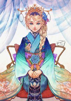 Kimono Elsa by Tiii13.deviantart.com on @DeviantArt