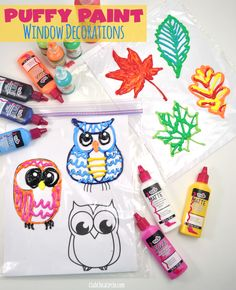 Fall Leaf and Owl Puffy Paint Window Decorations by Club Chica Circle.