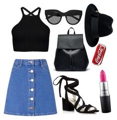 """""""summer look"""" by maniakozlowska on Polyvore featuring Miss Selfridge, MAC Cosmetics, Kenneth Cole, Sole Society, Le Specs and Gucci"""