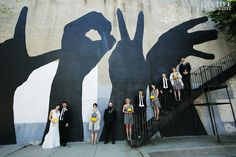 Westminster Hall Baltimore wedding. A bridal party at the Baltimore Love Project mural; perfect for a wedding! Photo by Love Life Images.