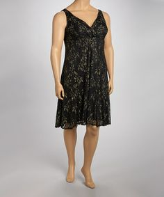 Look what I found on #zulily! Black & Gold Surplice Sleeveless Dress - Plus by Glamour #zulilyfinds