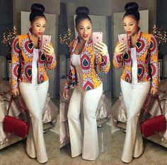 Bel agencement avec veste wax. Africain, Fashion ...