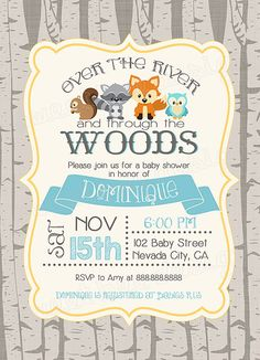 Woodland baby shower invitation woodland by SweetBeeDesignShoppe