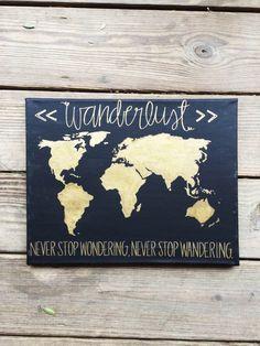 Wanderlust Gold World Map Quote Canvas by MissMeraki on Etsy