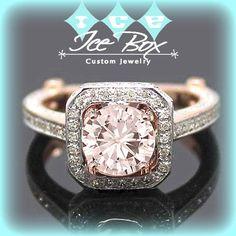 Pink Moissanite Engagement Ring 1.5ct Round Peach Pink Moissanite in 14k White and Rose Diamond Halo Setting Nice Morganite alternative