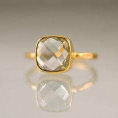 Green Amethyst Stacking Ring - Gemstone Ring - Gold Ring - Bezel Ring - Stackable Ring