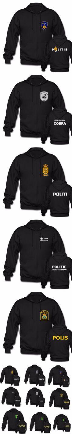 Netherlands Politi Austria Finland Sweden Yugoslavia Police Kaibil Kaibiles Special Swat unit Force Unisex Black Zipper Hoodies