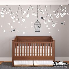 Nursery Hanging Blossom Branches Wall Stickers Decals by Wallboss on Etsy https://www.etsy.com/uk/listing/168260512/nursery-hanging-blossom-branches-wall