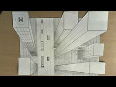 How to draw - one point perspective, 3d illusion, high-rise buildings - YouTube