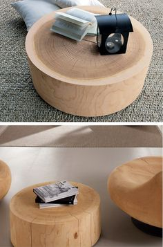 Round wooden coffee table ECO by Riva 1920 #wood #interiors @Riva Industria Mobili