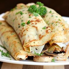 Bursting with herbs & spices, stuffed with sauteed mushrooms, Swiss cheese & shredded turkey - these savory crepes are excellent!