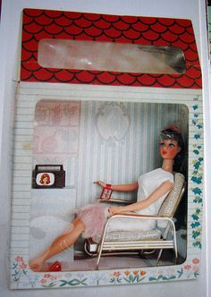 Japanese Barbie in House Display Box. ---  Ultra Super Rare Japanese Barbie House. This is the back of the box. Click through to see the front. It looks like a special design Mattel window box to sell Barbie. It is really an interesting find...