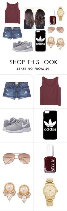 """""""Spring Day"""" by keirstinmagee ❤ liked on Polyvore featuring Current/Elliott, Monki, NIKE, adidas, H&M, Essie, Carolee and Michael Kors"""