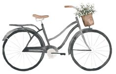 Watercolor bicycle with Flowers Clipart by EllePStudio on Etsy
