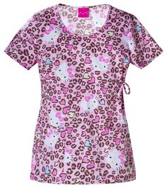 hello kitty scrub tops | Cherokee 6751 Hello Kitty Print Women's Scrub Top