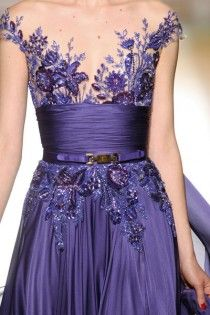 Weddbook ♥ Zuhair Murad wedding dress or bridesmaid dress. Zuhair Murad Couture Fall Winter 2012/2013. Lavender satin gown with sequin flowers embroidered and thin leather belt