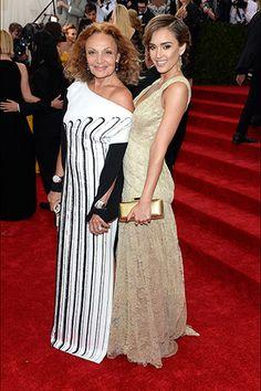 Diane von Furstenberg with Jessica Alba, in Diane von Furstenberg, with Melissa Kaye and Doves by Doron Paloma jewels.
