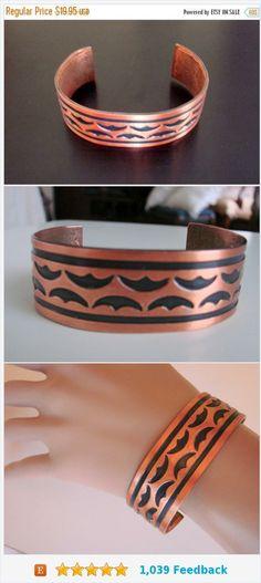 SALE Niello Wide Solid Copper Bracelet / Tribal Motifs / Artisan / Vintage Jewelry / Jewellery https://www.etsy.com/JoysShop/listing/533144580/sale-niello-wide-solid-copper-bracelet?ref=listings_manager_grid