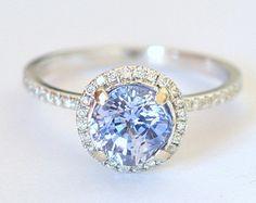1.99 carat Ceylon blue sapphire,  white gold diamonds halo engagement ring  815B