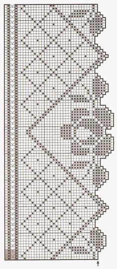 hkl crochet rose border vertical Patterns and motifs: Crocheted motif no. Crochet Puff Flower, Crochet Lace Edging, Crochet Motifs, Crochet Borders, Crochet Flower Patterns, Thread Crochet, Crochet Doilies, Crochet Flowers, Crochet Stitches