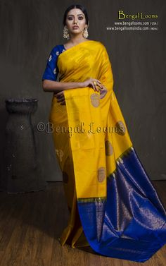 Soft Silk Kanchipuram Saree in Yellow and Dark Blue Kanjivaram Sarees Silk, Blue Silk Saree, Yellow Saree, Soft Silk Sarees, Dhoti Saree, Indian Bridal Sarees, Wedding Silk Saree, Kanchipuram Saree Wedding, Pattu Saree Blouse Designs