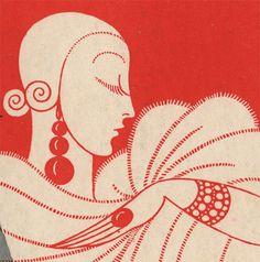 Erte Print Original Vtg 1931 Art Deco Harpers Bazaar Bazar Linen Backed Cover | eBay
