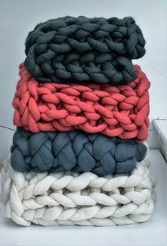 From lightly felted to fully felted giant yarn blankets.