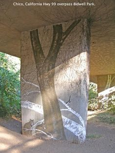 Mural- Awaken eARTh heART: Mural in Chico by Gregg Payne. Birds, Nature on Freeway Underpass.