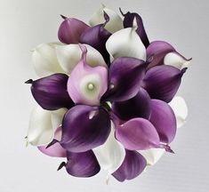 MADE TO ORDER 1 Real Touch purple and white calla lilies bridal bouquet with a brooch and ribbon The bouquet has been made from 23 calla lilies , brooch and satin ribbon It is perfect for the bride who appreciates simple and classy style. The bouquet looks so real, elegant , stylish,