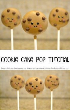 Cookie Cake Pop Tutorial - a fun idea for cake pops perfect for a party treat for kids. So easy to make too! Cookie Cake Pop Tutorial - a fun idea for cake pops perfect for a party treat for kids. So easy to make too! Cookie Pops, Cookies Et Biscuits, Cake Cookies, Cupcake Cakes, Milk Cookies, Cake Pop Designs, Cookie Cake Designs, Cake Pop Decorating, Cookie Cake Decorations