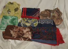 8 Vintage Women's Scarves Laurie YNS Va Bene by SavvyStuffage