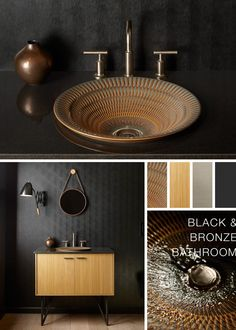 Daring and dramatic, this bathroom is the perfect showcase for our new Artist Editions sink pattern and glaze.