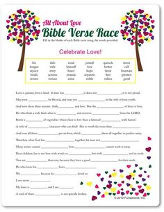 Printable All About Love Bible Verse Race - Funsational.com: More