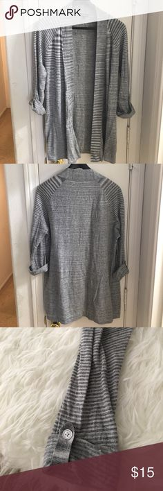 """[Express] Light-weight Grey Cardigan Express Grey Light-Weight Open Cardigan. Perfect for a cool summer night or fall layered. You can roll the sleeve up or leave in unrolled. No holes, rips or piling. Approx 33"""" L from back neck down. Stretchy. 100% Cotton. Express Sweaters"""